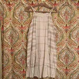 White/Tan very light linen Dress